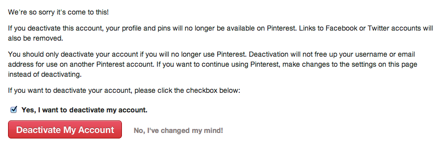 deleting pinterest