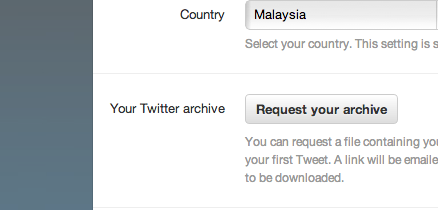 request twitter archives