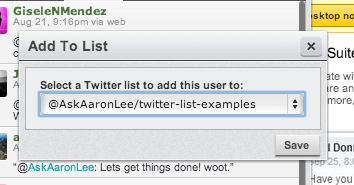 twitter lists examples